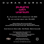 "Duran Duran - Playing With Uranium 7"" (back cover)"