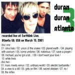 Duran Duran - Atlanta 3 (2001) (back cover)