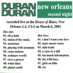 Duran Duran - New Orleans 2001 (2nd) (back cover)