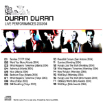 Duran Duran - Live Performances 2003-2004 (back cover)