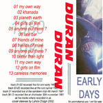 Duran Duran - Early Years (back cover)