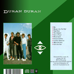 Duran Duran - Live At Hammersmith (back cover)