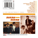 Duran Duran - Live In Detroit (back cover)