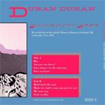 Duran Duran - Glasgow 1982 LP (back cover)