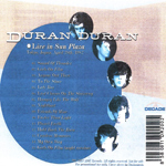 Duran Duran - Live In Sun Plaza (back cover)