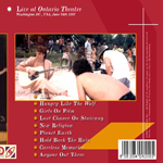 Duran Duran - Ontario Theatre (back cover)