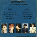 Duran Duran - Live In N.Y. City Nov.1984 (back cover)