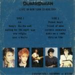 Duran Duran - Live In N.Y. City Nov.1984 (back cover)