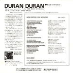 "Duran Duran - New Moon On Monday 7"" (back cover)"