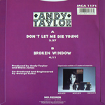 "Andy Taylor - Don´t Let Me Die Young 7"" (back cover)"