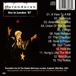 Duran Duran - Live In London 87 (back cover)