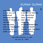 Duran Duran - Popular Creek (back cover)