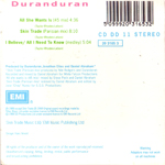 Duran Duran - All She Wants Is (back cover)