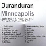Duran Duran - First Avenue Minneapolis (back cover)