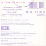 Duran Duran - Do You Believe In Shame? (back cover)