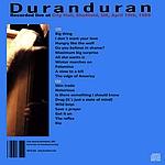Duran Duran - Sheffield City Hall 1989 (back cover)
