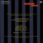 Duran Duran - Royal Albert Hall (back cover)