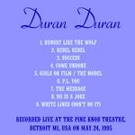 Duran Duran - Detroit 1995 (back cover)