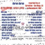 Duran Duran - Ultra Chrome Latex & Steel San Diego (back cover)