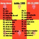 Duran Duran - Dublin 1999 (back cover)